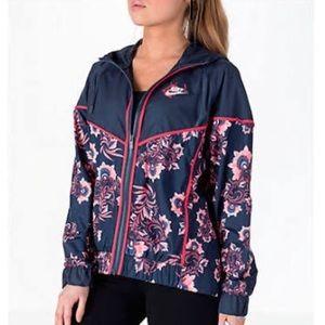 NWT Nike Floral WindRunner Track Jacket Sz M Blue